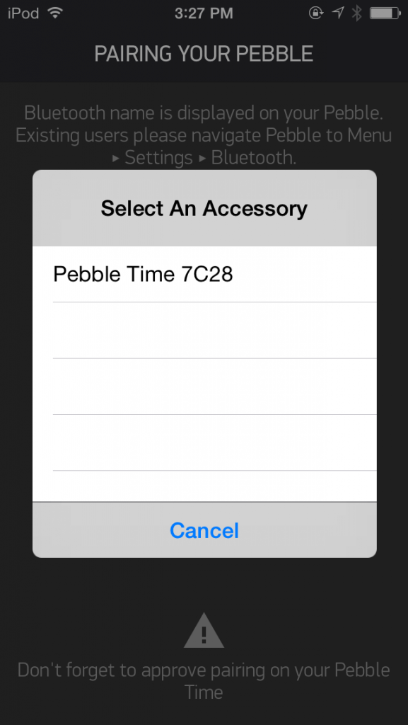 pebble time ios bluetooth